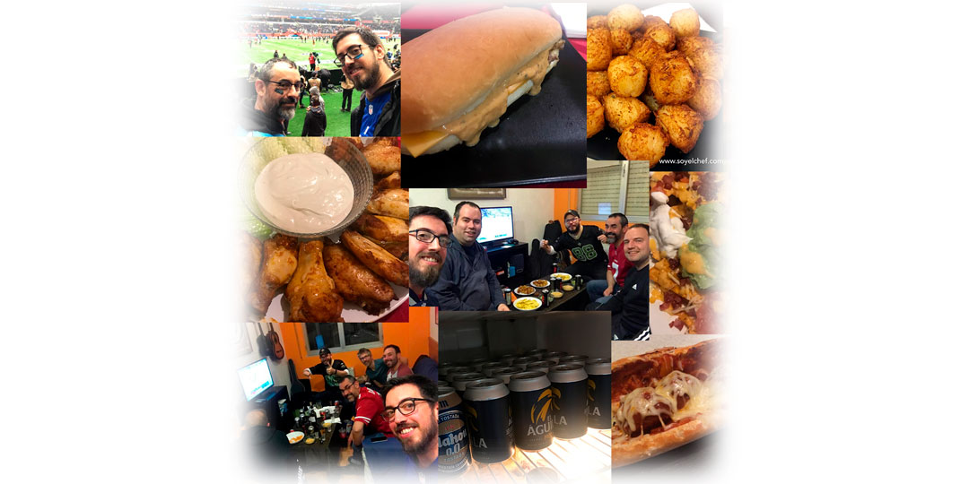 Collage de imágenes football food